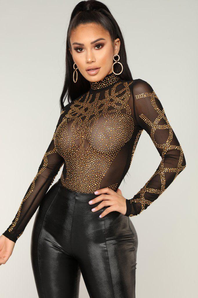 890f07e3a8f Let s Get Lost Embellished Bodysuit - Black in 2019