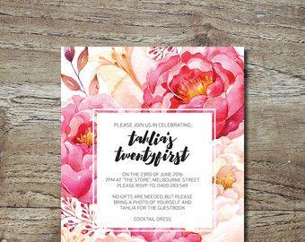 LAUREN MAY CREATIVE / 21st Invitation / Garden Party / Watercolour Invitation / Peachy Floral