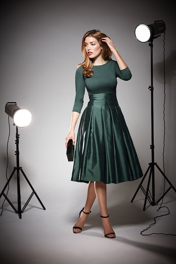 Love this dress-style, length, full skirt, color, everything