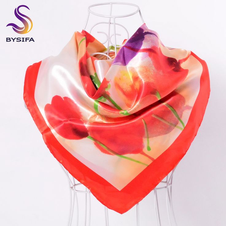 >> Click to Buy << [BYSIFA] Brand Red Tulip Square Scarf Spring Autumn Fashion Accessories Ladies Satin Scarf 90*90cm Muslim Head Scarf Cape #Affiliate