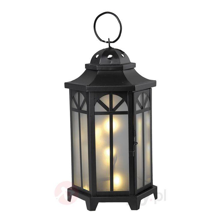 Czarny lampion ogrodowy Kantis, 10x LED 1523119