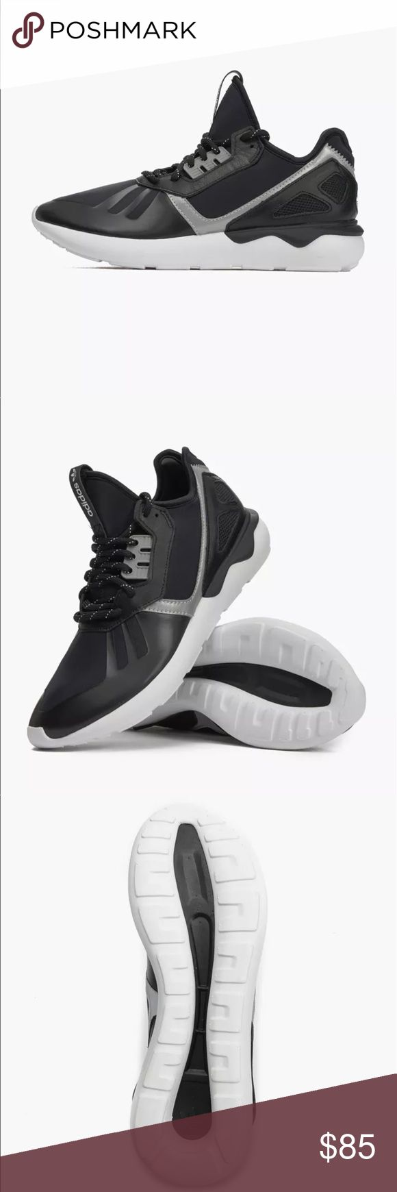 Men's Adidas Tubular Runner Core Black Shoes New in Box! Originally dropped in the mid-'90s, the adidas Tubular 2 was known for its futuristic design that actually allowed you to customize the fit, per a pump that came with the shoes. Now the Three Stripes is using that and their high-fashion Y-3 Qasa as inspiration for the Tubular Runner. A sleek one-piece neoprene upper with leather overlays and laser-cut heel cage means you can dress these up or down, while the distinct oversized outsole…