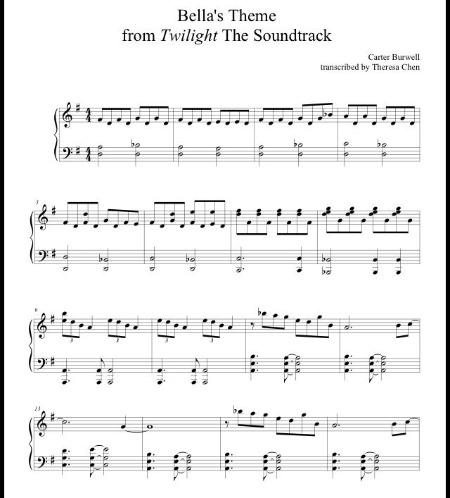 Twilight Theme Song  http://www.opusmusicworksheets.com/storage/sheet-music/Twilight-Bella's-Lullaby-Sheet-Music.pdf