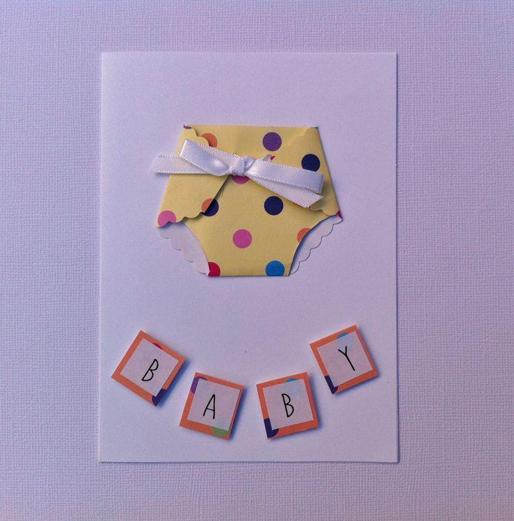 Handmade Baby Card - Baby Shower Card - Nappy Card - New Arrival Card - Handmade. by HandmadeByLana on Etsy
