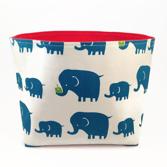 Storage basket Nursery fabric bin Elephants Fabric by NoLongerBlue