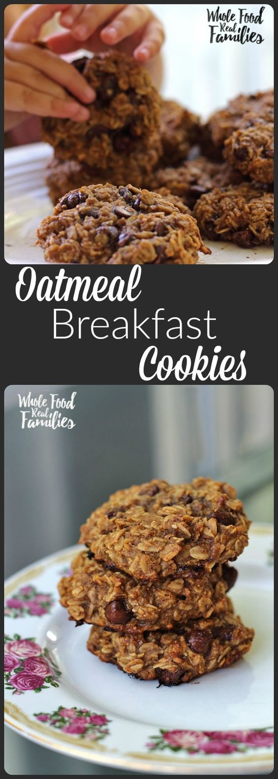 Healthy Oatmeal Breakfast Cookies 3 ripe bananas, mashed ½ cup peanut or almond butter ¼ cup honey ½ tsp salt 2¼ cups old-fashioned rolled oats ⅓ cup chocolate chips, raisins, or dried cranberries INSTRUCTIONS Preheat oven to 350 degrees. Bake for 12-15 minutes. Enjoy!