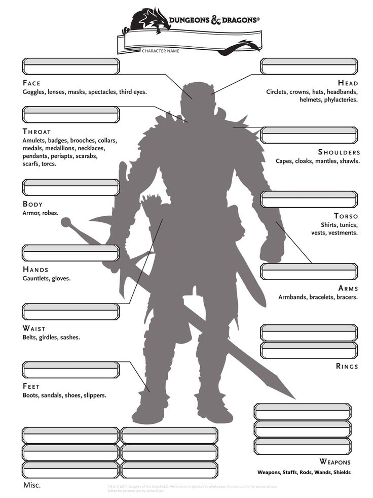 D&D 5e Alternate Inventory Page from epiclevelgaming.com | Don't play D&D, but this could actually come in handy, writing-wise.