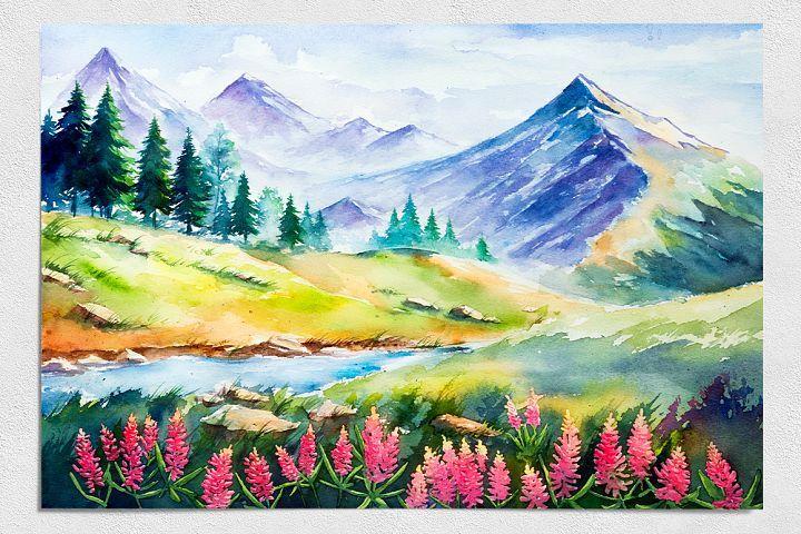 Download Spring Landscapes Watercolor Today We Have A Huge Range Of Illustration Products Available Landscape Drawings Landscape Paintings Spring Landscape