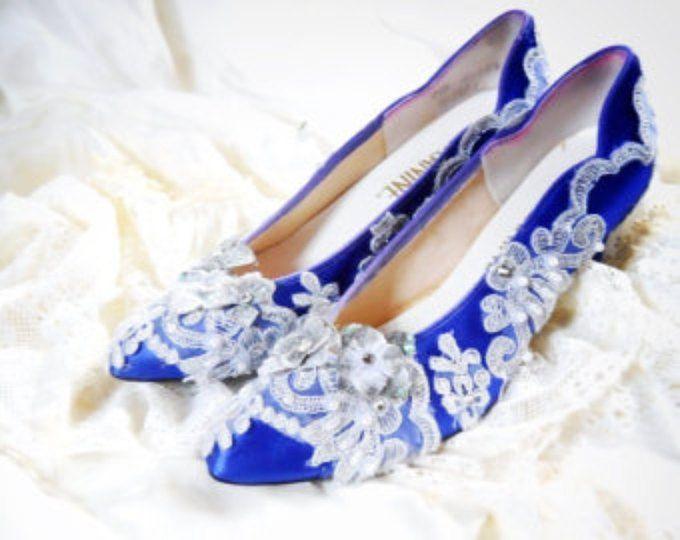 NUOVO raso royal blu e argento applique e diamante strass marie Antoinette scarpe rococò dimensioni 7.5