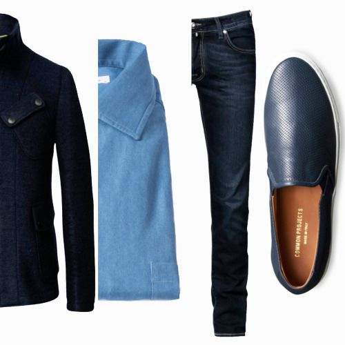 Today's Outfit Inspiration  Wool jacket by D by D Syoukei | Loro Piana denim shirt | Jacob Cohën comfort fit denim | Common Projects perforated nappa slip-on sneakers.  Pauw Mannen