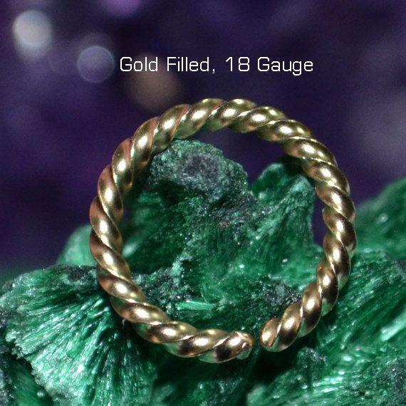 CARTILAGE RING 14k Gold Filled hoop earring, piercing, septum, brow, belly, catchless 10mm 18g 18 gauge ring goldfilled wire 14 kt nose ring
