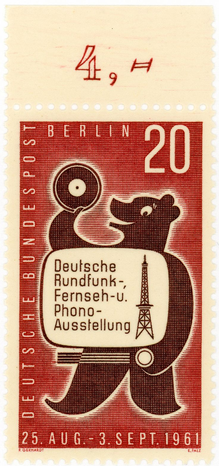 vintage postage stamps, Germany (West Berlin) postage stamp: bear