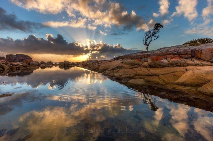 Mirrored sunrise at Binalong Bay, Bay of Fires, TAS,