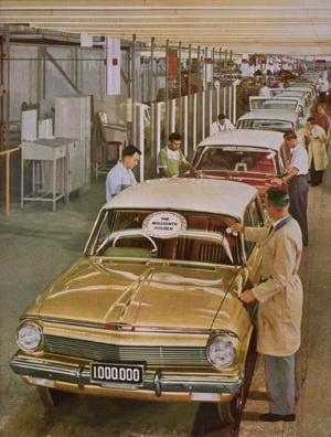 The ONE MILLIONTH Holden to roll off the assembly line, circa 1964.   Historical Holdens #ClassicHolden #Holden