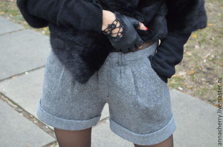 Купить Шорты валяные Смок - шорты, валяные шорты, валяные, сваляные, шерстяные, серые варежки