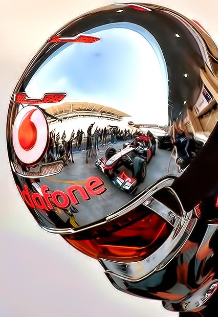 Insomnia lg JJ F1 -chrome -chromatic red lense -well sculpted - word on helmet to draw focus back to helmet itself.