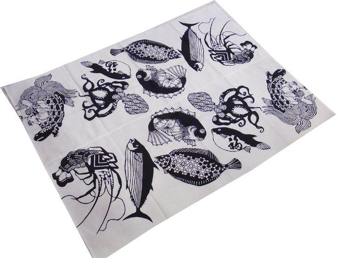 小倉充子作 夏祭魚々図手ぬぐい二枚で風呂敷