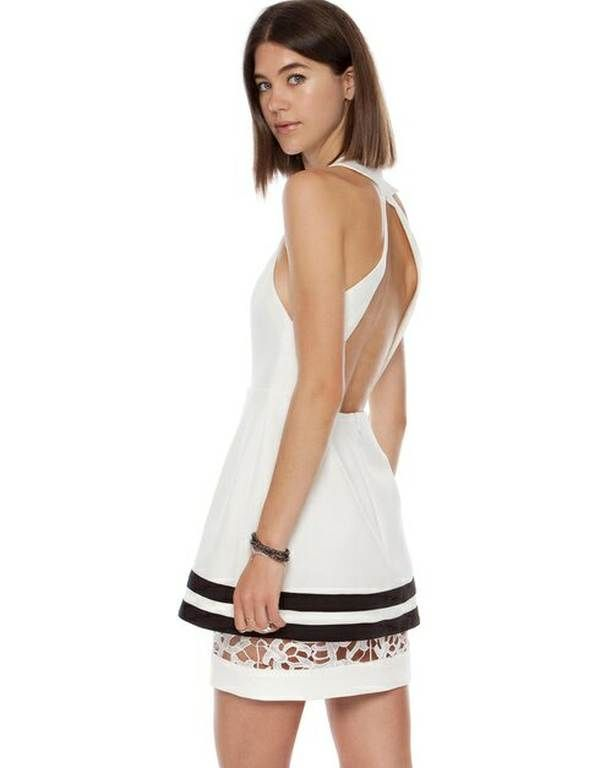 Vowels Cut Out Halter-Neck Dress -   Halter-neck dress with lace underlay, halter neckline with twin hook and eye closures on the reverse, and a racer-style back with large cut-out detailing.  $180.00