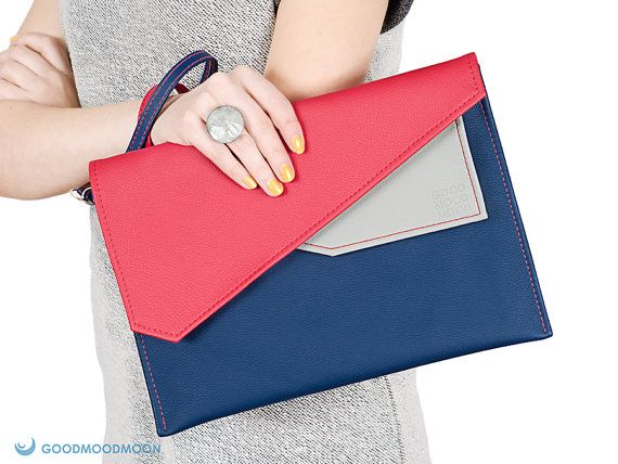 Envelope clutch navy blue red, case for ipad by GoodMoodMoon, $35.00