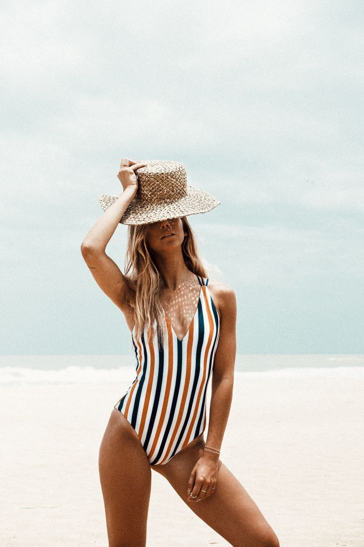 striped one piece swim suit