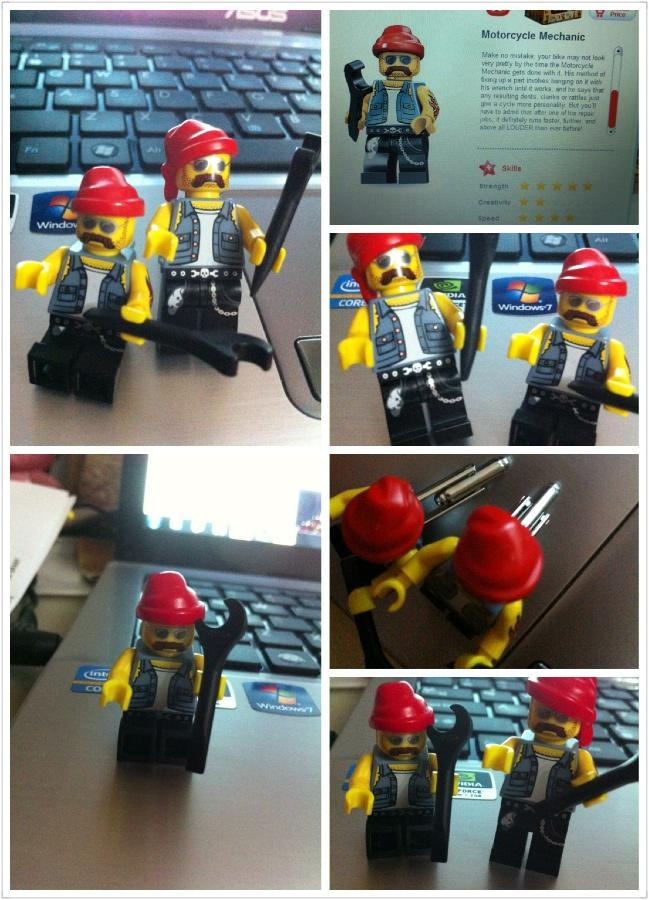 Handmade Lego Mini Figurine Series Motorcycle Mechanic Cufflinks. Only pair made by me!