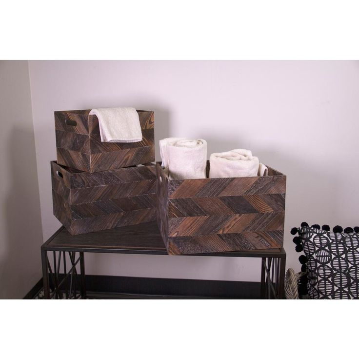 3-Piece Wood Basket Set with Zig Zag Detail and Cut Out Handles, Grays