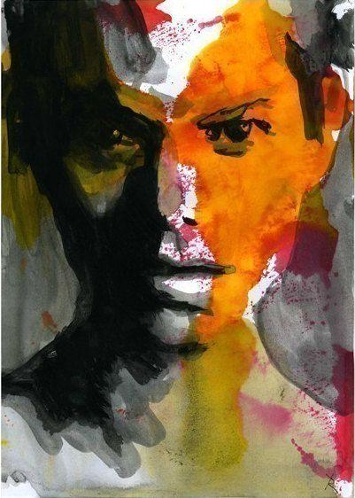 Watercolor Painting - Print  Art - Face Orange 50-100l.e.. $10.00, via Etsy.