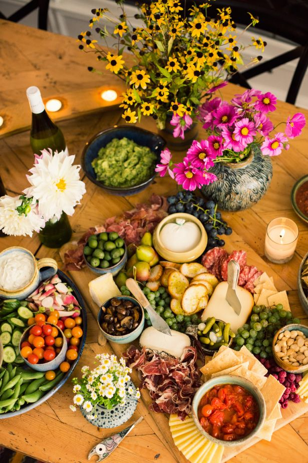 a bruschetta bar, crudité platter with hummus, cheeses and of course- her famous guacamole