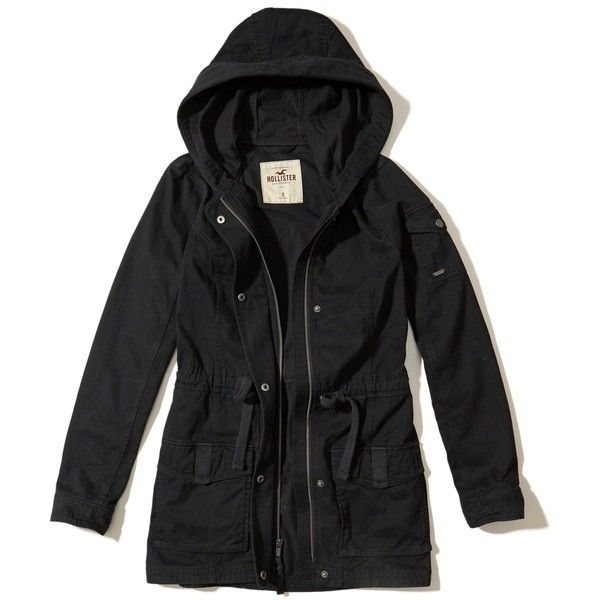 Hollister Twill Utility Parka (4.120 RUB) via Polyvore featuring outerwear, coats, black, cinch coats, utility coat, zip coat, hooded parka и hooded parka coat