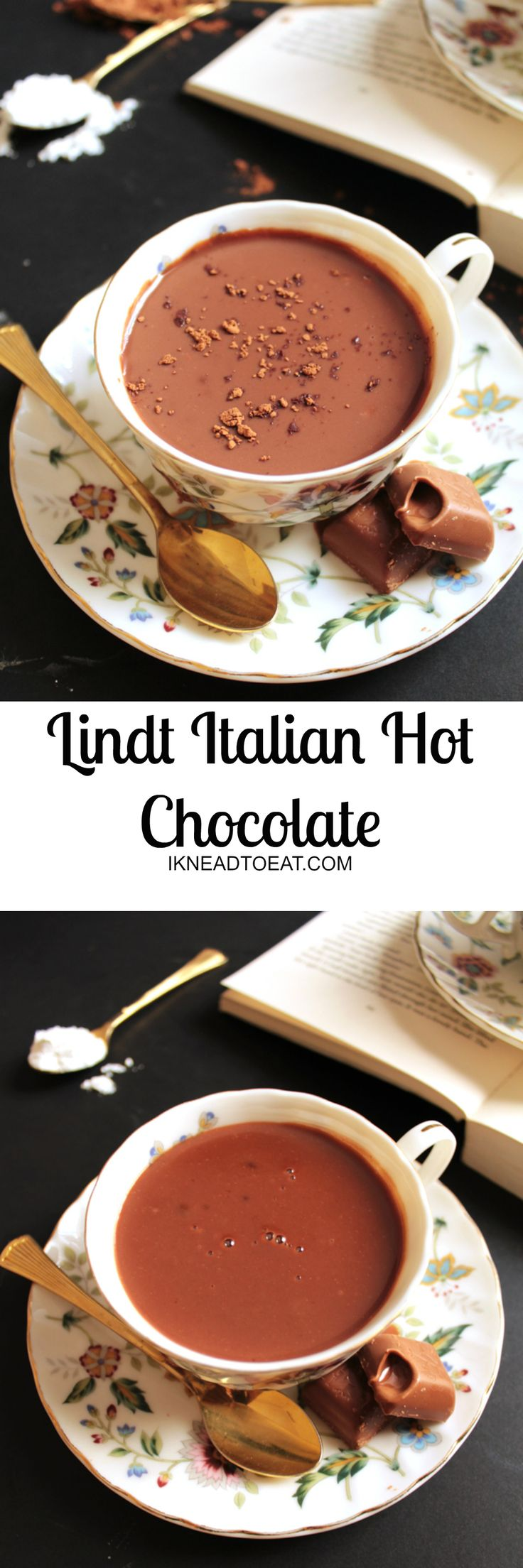 Deliciously thick and creamy Italian hot chocolate ready in just FIVE minutes using only FIVE ingredients. P.S. There's a whole bar of Lindt chocolate in it. Yum!