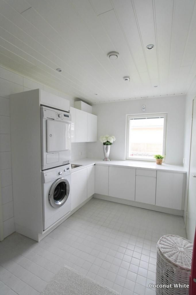 Coconut White: White laundry room