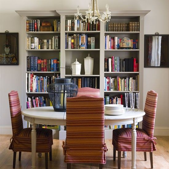 Run Out Of Shelf Space Go For A Book Lined Dining Room Bookshelves Pi