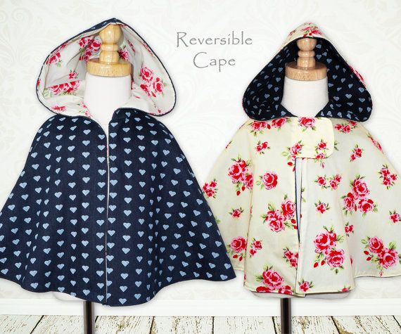 Reversible Girls sewing pattern PDF, Instant Download, Costume, Jacket, Childrens sewing pattern, The Maisie Cape pattern