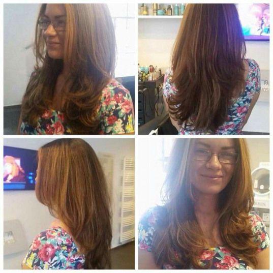 v shaped layered hair with face framing layers and new blonde highlights!!! Summer Look #haircutideas #haircut #ideas #v #shape