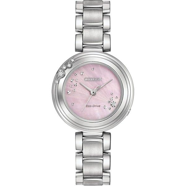 Citizen Em0460-50n Ladies Bracelet Watch ($435) ❤ liked on Polyvore featuring jewelry, watches, sale, stainless steel watches, citizen watches, watch bracelet, stainless steel wrist watch and sparkly watches