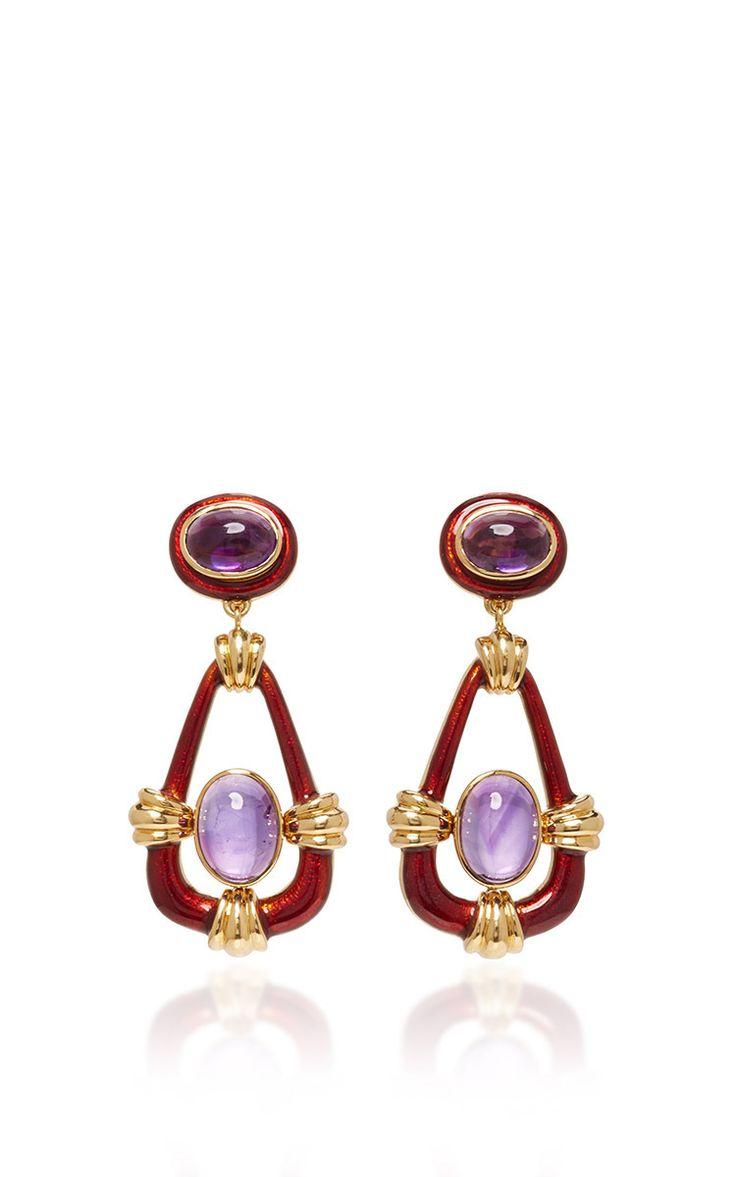 Cabochon Amethyst Earrings by DAVID WEBB