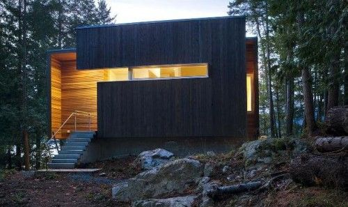 Modern House Design Cedar Siding Construction Concept