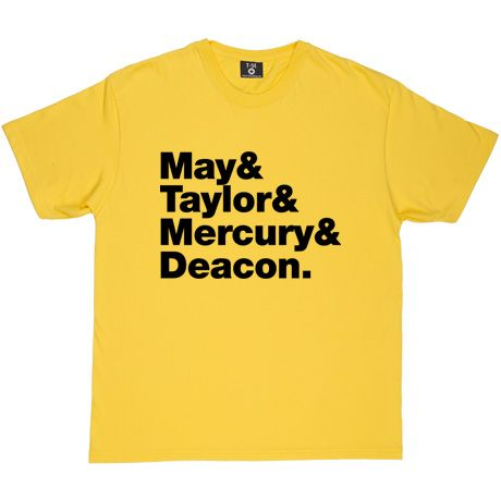 Queen Line-Up Yellow Men's T-Shirt. Brian, Roger, Freddie and John. The original, and only true, Queen band line-up: May...