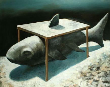 Visual artist Samuli Heimonen Breakfast. Acryl and oil on canvas. 140cm x 175. 2008