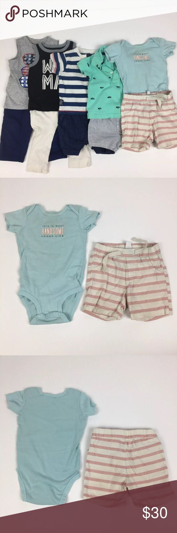"""Lot Of Baby Boy Clothes 6-9 mo Old Navy Carter's All in good gently used condition.   1 Life and Legend Striped Jumper 6-9 mo  1 Carter's """"This is what handsome looks like"""" onesie 9 mo (there is some shadow staining on the neck and sleeve - see pics)  1 Old Navy striped red and cream shorts 6-12 mo  1 Old Navy """"wild Man"""" bro tank 6-12 mo  1 Old Navy cream joggers 6-12 mo (little stain on the knee - see pics)  1 Carter's steamboat polo 6 mo  1 Carter's striped shorts 6 mo  1 Okie Dokie…"""