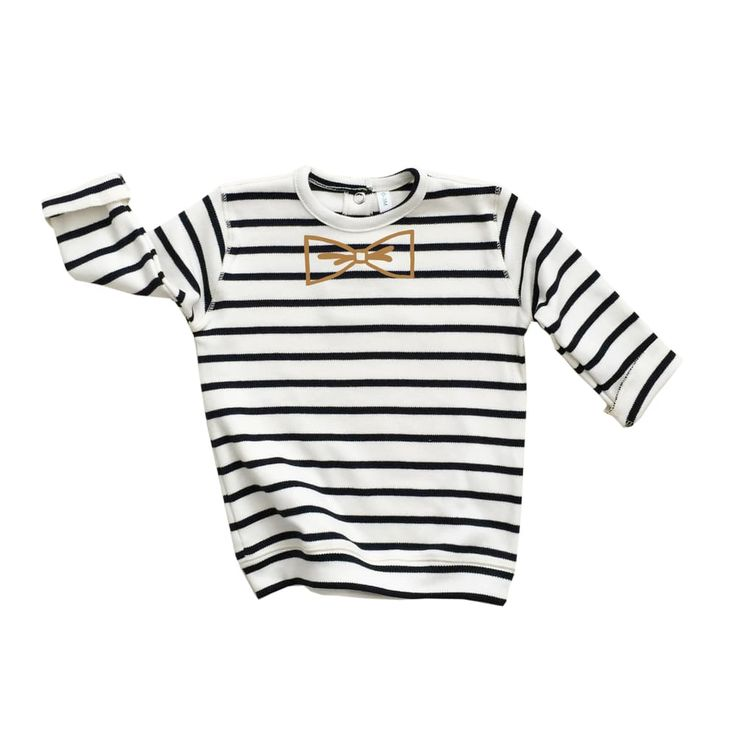 Breton Stripe BOW Sweatshirt via Organic, Sustainable Baby and Kids Clothes | Organic Zoo. Click on the image to see more!