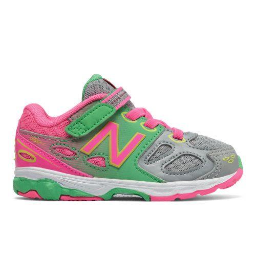 Hook and Loop 680v3 Kids' Infant Running Shoes - Grey/Pink/Green (KA680GKI)
