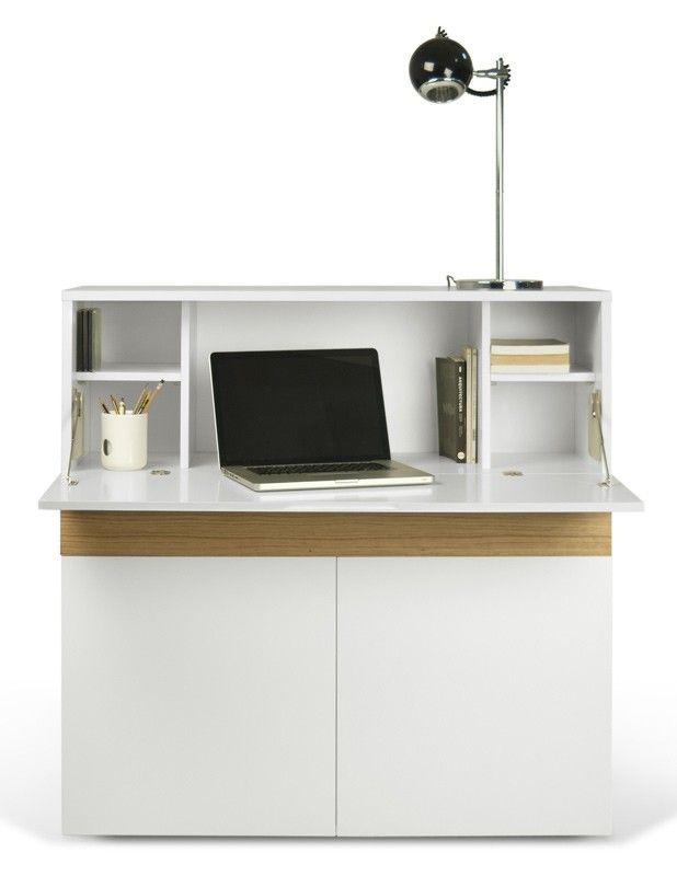 Focus Skrivebord - Flot og funktionelt skrivebord til det moderne hjemmekontor. Skrivebordet er udført i hvid MDF med egetræs-finer som giver møblet et stilrent og enkelt udseende. Skrivebordet tilbyder masser af opbevaringsplads og har en smart drop-down dør, der hurtigt bliver til en bordplade hvor du kan arbejde med din bærbare computer eller tablet. Skrivebordet tilbyder også en rummelig skuffe samt to skabsdøre, hvor der bag skabsdørene gemmer sig 3 rum til yderligere opbevaring. I den…