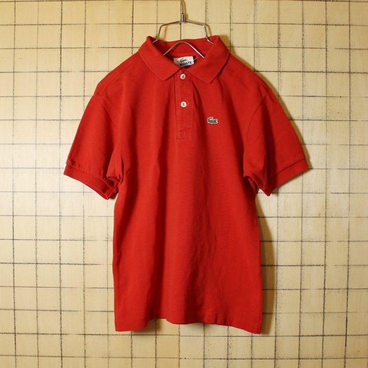 古着 フレンチラコステ Lacoste ポロシャツ 半袖 レンガレッド レディースS相当 シェルボタン
