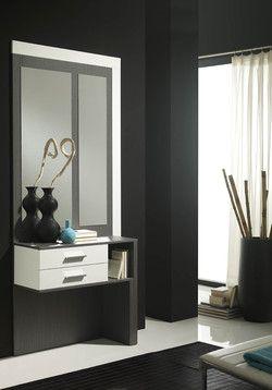 Meuble d'entrée moderne + miroir PACXI, coloris blanc et gris cendré