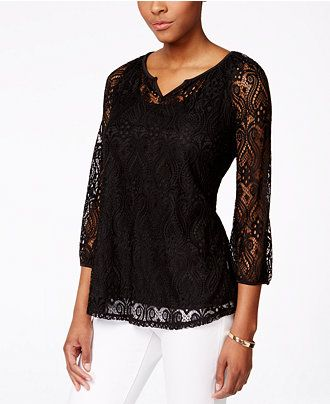 Style & Co. Lace Peasant Top, Only at Macy's - Style & Co. - Women - Macy's