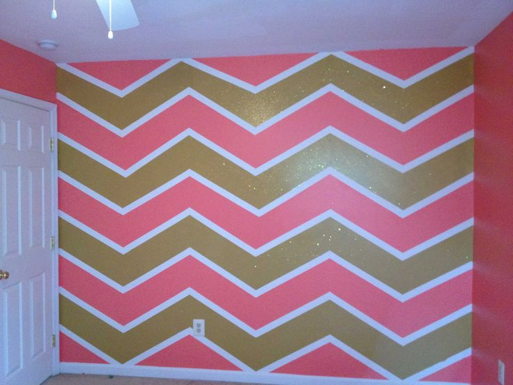Pink, gold with glitter and white chevron painted wall