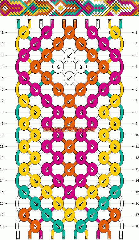 diamond geometric friendship bracelet pattern 10 strand 5 color