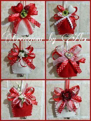 Simpatiche campanelle in feltro ideali per addobbare l'albero oppure per un simpatico pensierino natalizio