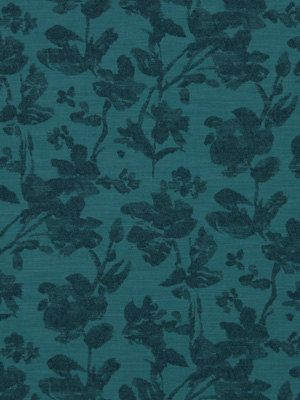 A modern floral upholstery fabric in two tones of dark and light teal. The simplicity of the floral design is woven to take on the appearance of